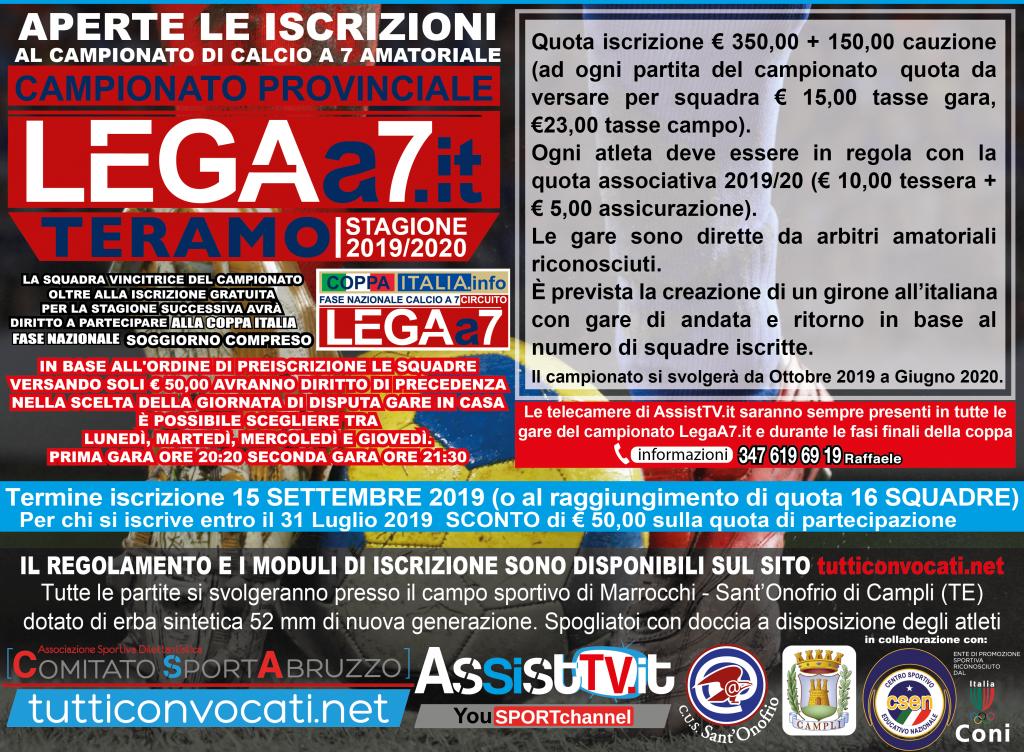 Calendario Torneo A 7 Squadre.Lega A 7 Teramo Campionato Amatoriale Calcio A 7 Legaa7 It